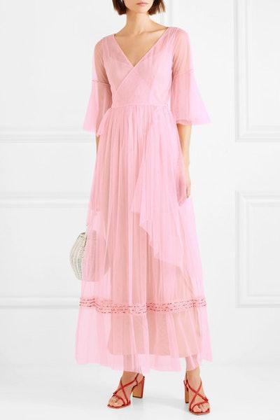 Staud Stella Tulle Wrap Maxi Dress