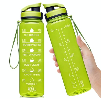 Elvira Large Water Bottle with Motivational Time Marker & Removable Strainer