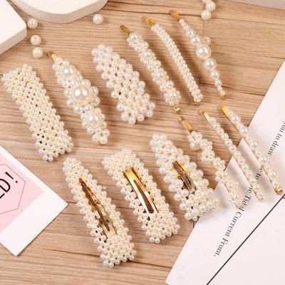 E-accexpert Pearl Hair Clips (12 Pieces)