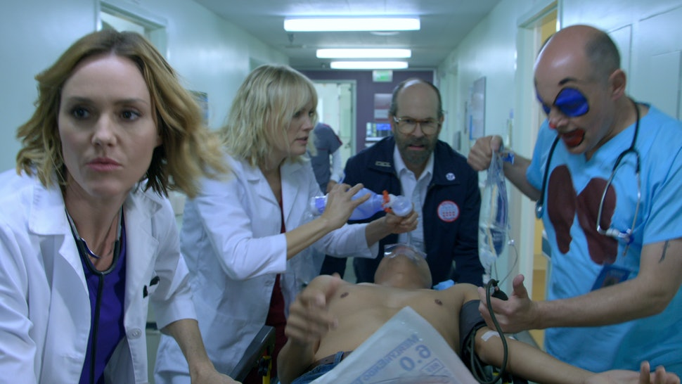 Erinn Hayes, Malin Akerman, Brian Huskey, and Rob Corddry in 'Medical Hospital'