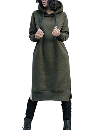 NUTEXROL Long Fleece Sweatshirt Hoodie Dress