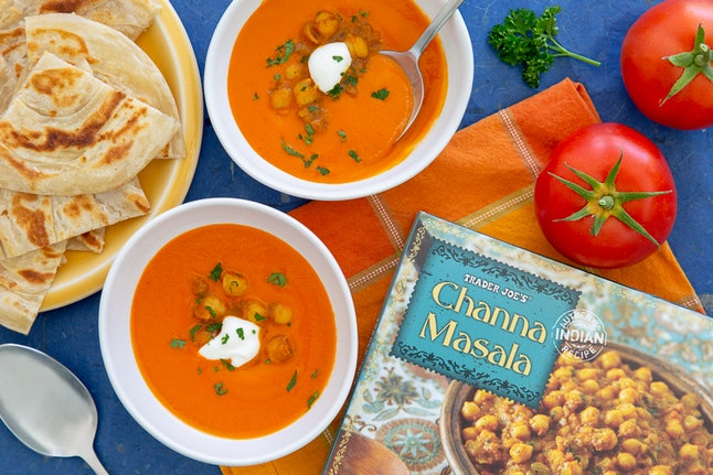 Trader Joe's tomato and red pepper soup pairs great with Trader Joe's frozen channa masala.