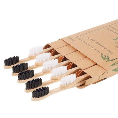 Nuduko Biodegradable Reusable Bamboo Toothbrushes (10-Pack)