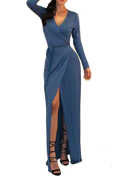 Vivicastle Long-Sleeve Tulip Wrap Slit Maxi Dress