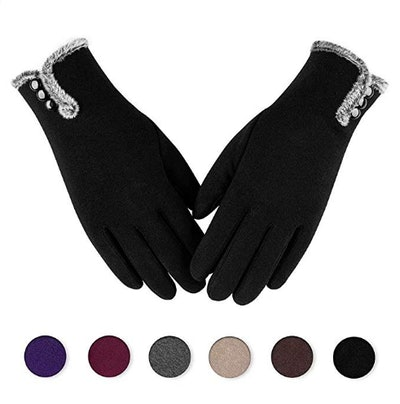 Alepo Womens Winter Warm Gloves With Sensitive Touch Screen Texting Fingers, Fleece Lined Windproof Gloves