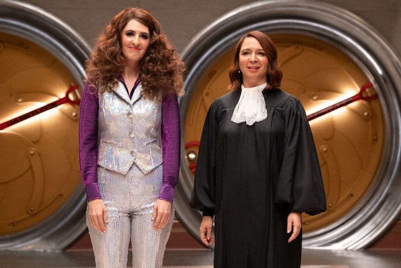 D'Arcy Carden as Janet and Maya Rudolph as Judge in The Good Place