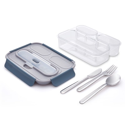 Built Gourmet 3 Compartment Bento Set with Stainless Steel Utensils, Gray