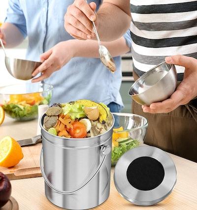 Utopia Kitchen Stainless Steel Countertop Compost Bin (1.3 Gallon)