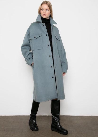 Stone Blue Wool Blend Dress-Jacket