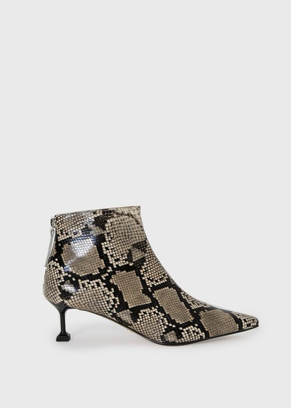 Python Pointy Boots with T-Square Heel