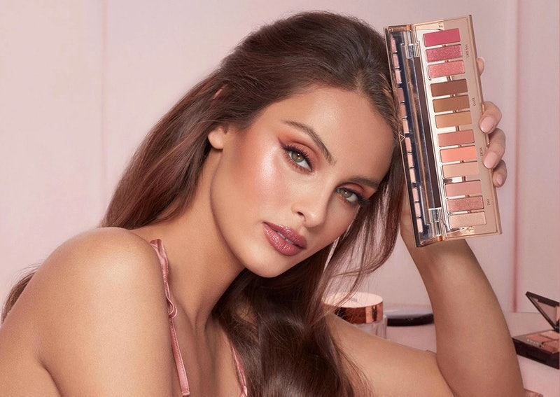 Charlotte Tilbury's Instant Eye Palette in Pillow Talk includes 12 eyeshadow shades inspired by the iconic rosy hue.