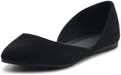 Ollio Faux Suede Pointed Toe Ballet Flat