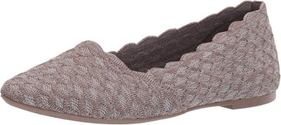 Skechers Women's Cleo-Scalloped Knit Skimmer Ballet Flat