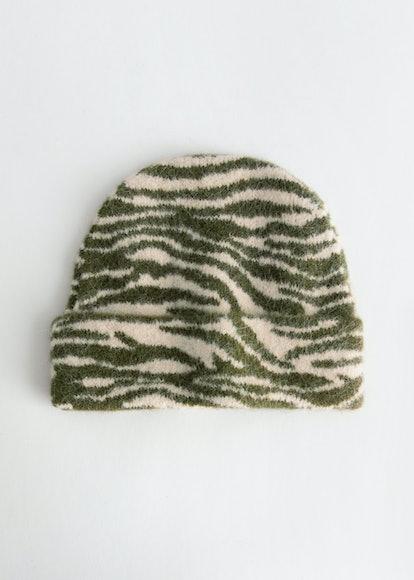 Fuzzy Zebra Wool Blend Beanie