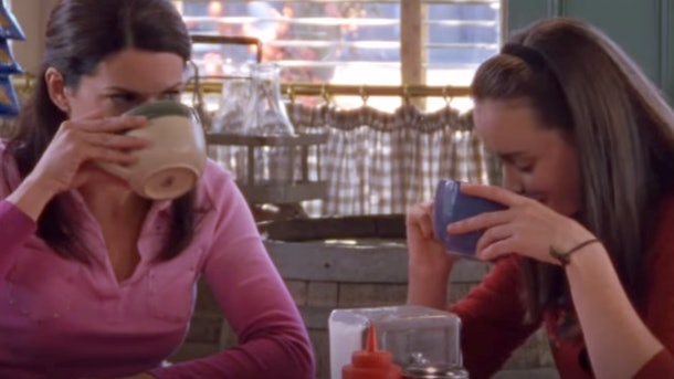 Rory and Lorelai drinking coffee