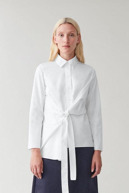 Draped Tied Cotton Shirt