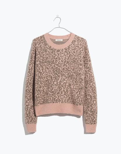 Shrunken Pullover Sweater in Leopard