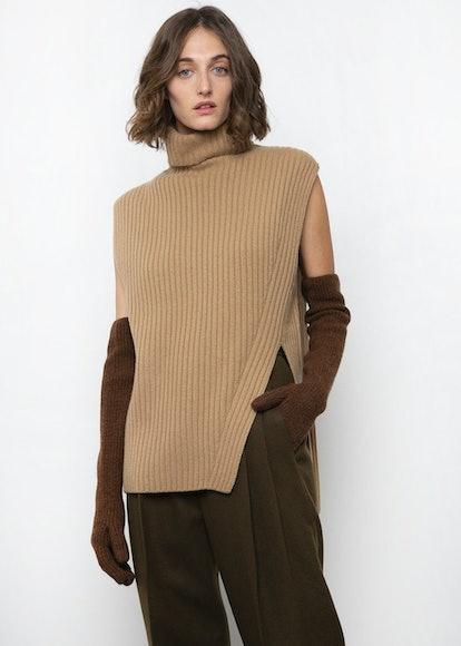 Biscuit Beige Ribbed Sweater Vest