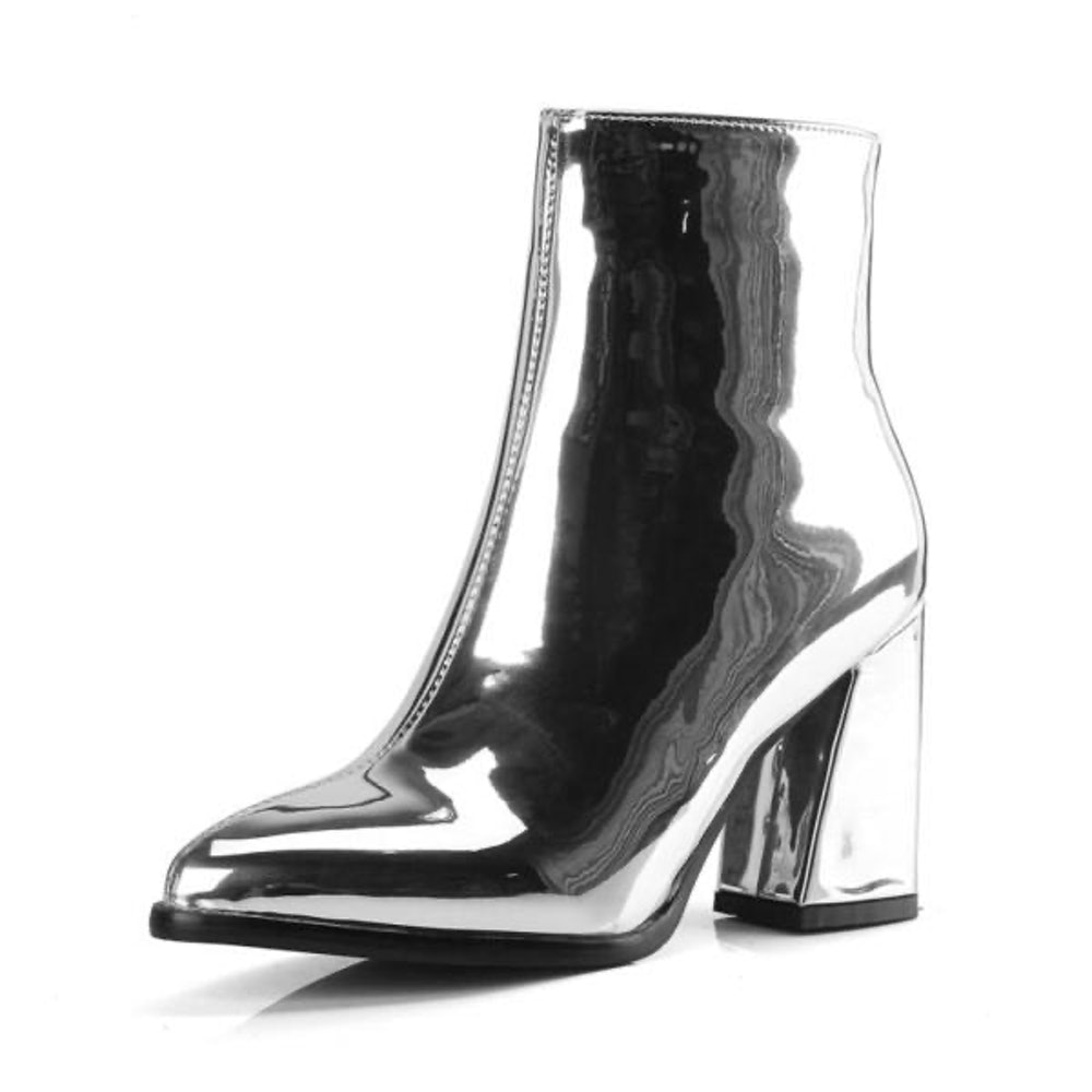 metallic pointed toe block heel ankle boots