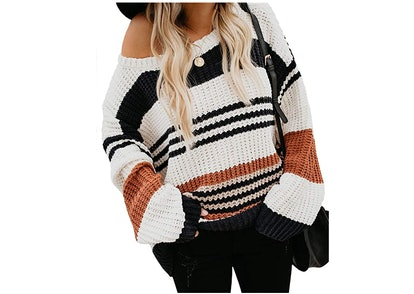 KIRUNDO Striped Color-Block Sweater