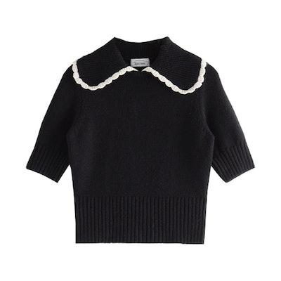 Wide Collar Wool Knit Sweater