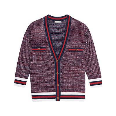 Tweed-Effect Cardigan With Braid Trim