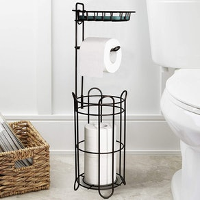 FORUP Freestanding Metal Toilet Paper Roll Holder Stand