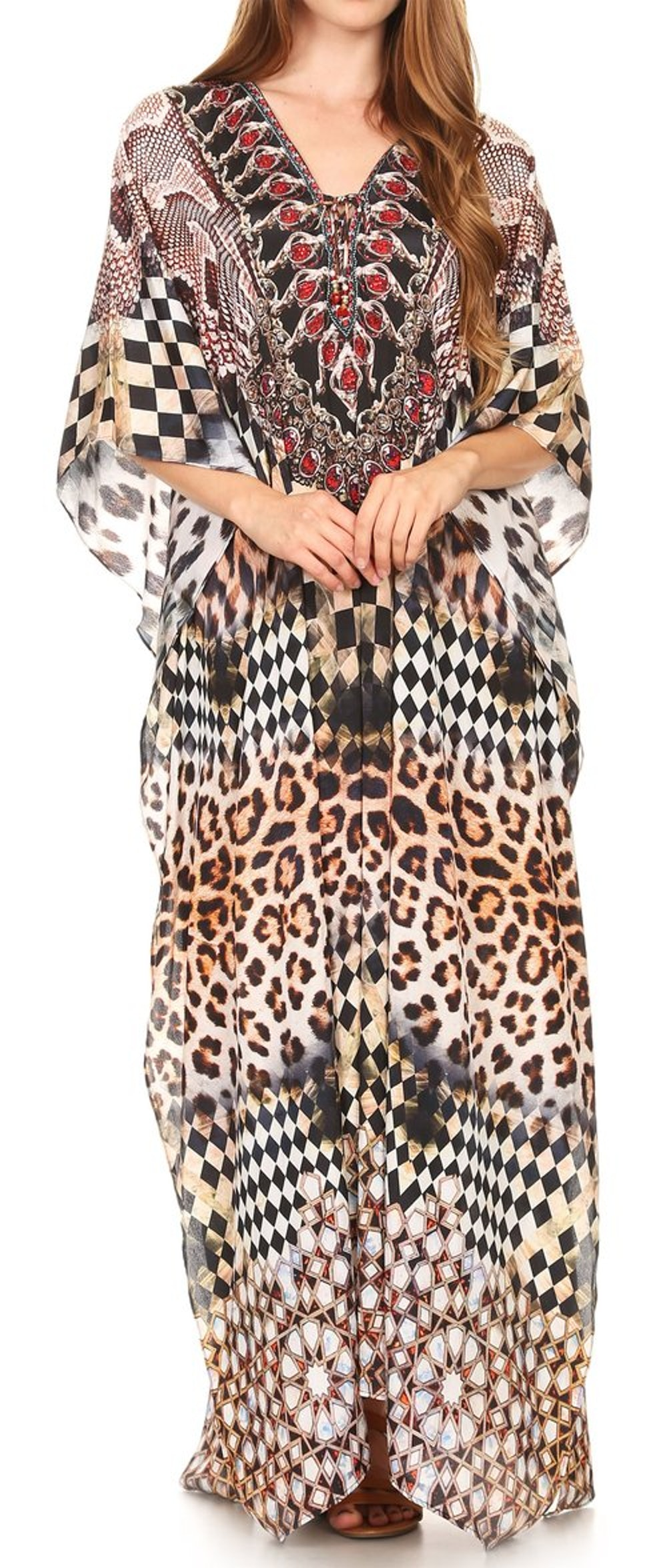 Georgettina Flowy Rhinestone V Neck Long Caftan Dress/Cover Up