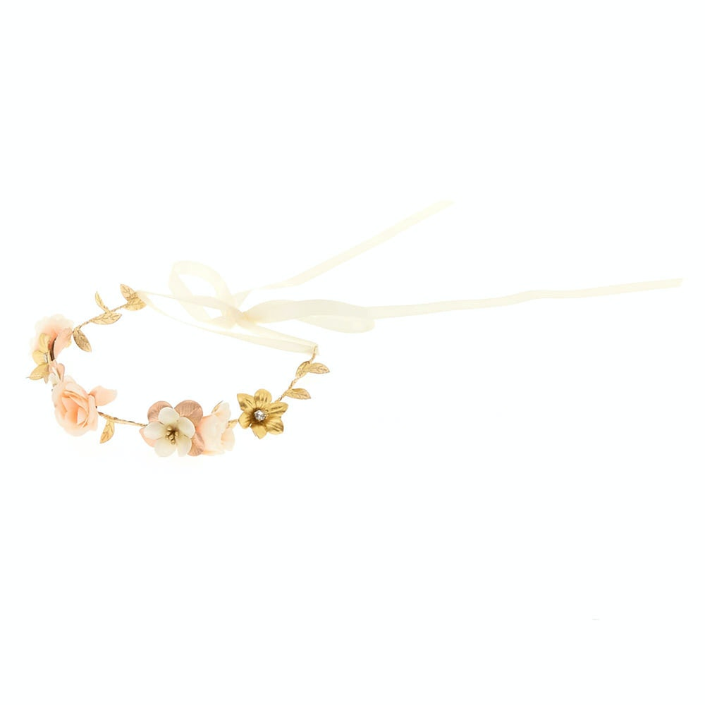 Rose Gold Flower Crown Tie Headwrap