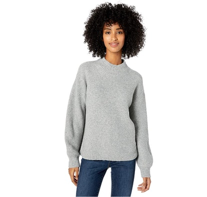 Goodthreads Boucle Shaker Stitch Balloon-Sleeve Sweater