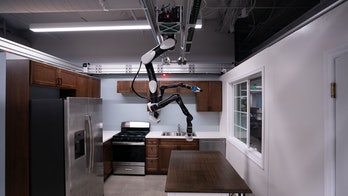 Toyota created a robot that hangs from the ceiling and is able to complete tasks like cleaning and loading the dishwasher.