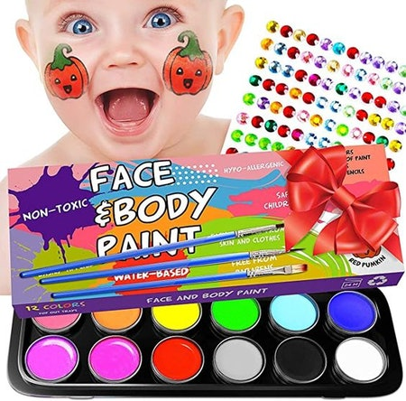 Face Painting Kits for Kids - 36 Stencils, 12 Large Nontoxic Water Based Face Paint 3 Brushes - Professional Halloween Makeup Palette - Hypoallergenic