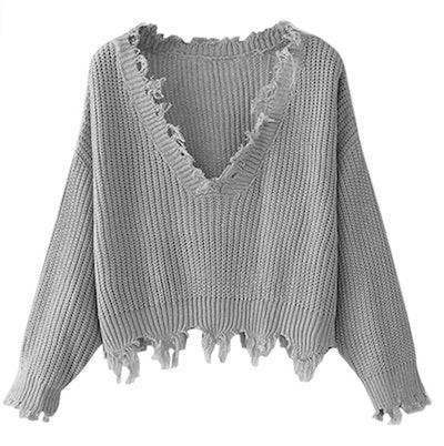 ZAFUL Distressed V-Neck Sweater