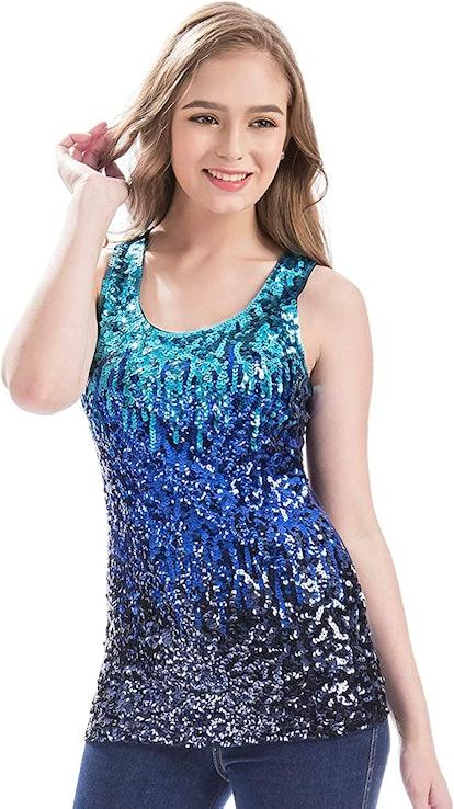 MANER Sleeveless Glitter Gradient Tank Club Party Vest