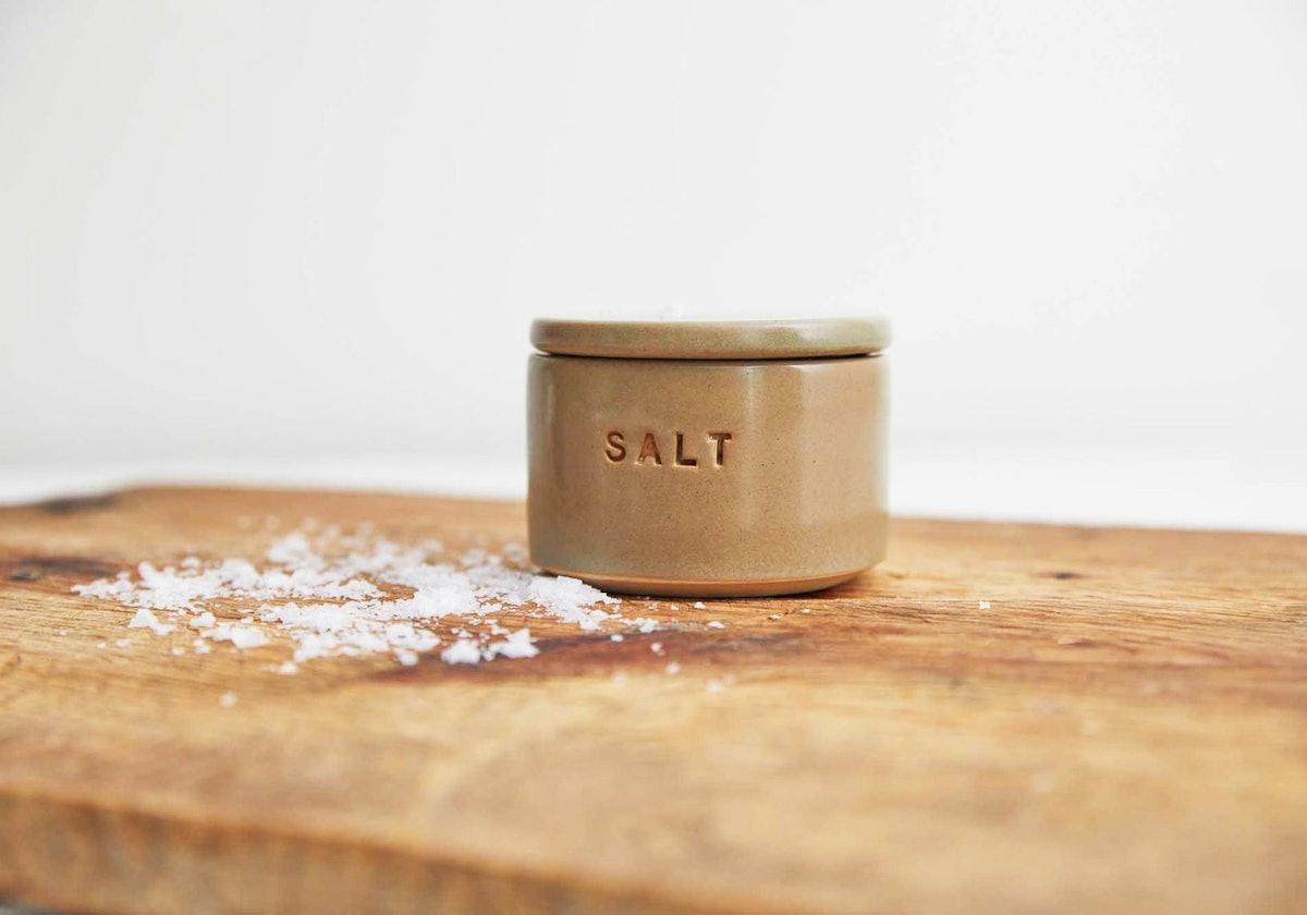 Half Baked Harvest x Etsy x Stuck in the Mud Pottery: Moss Green Ceramic Salt Cellar