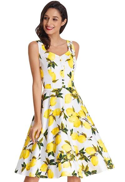 Sleeveless V-Neck Lemon Dress