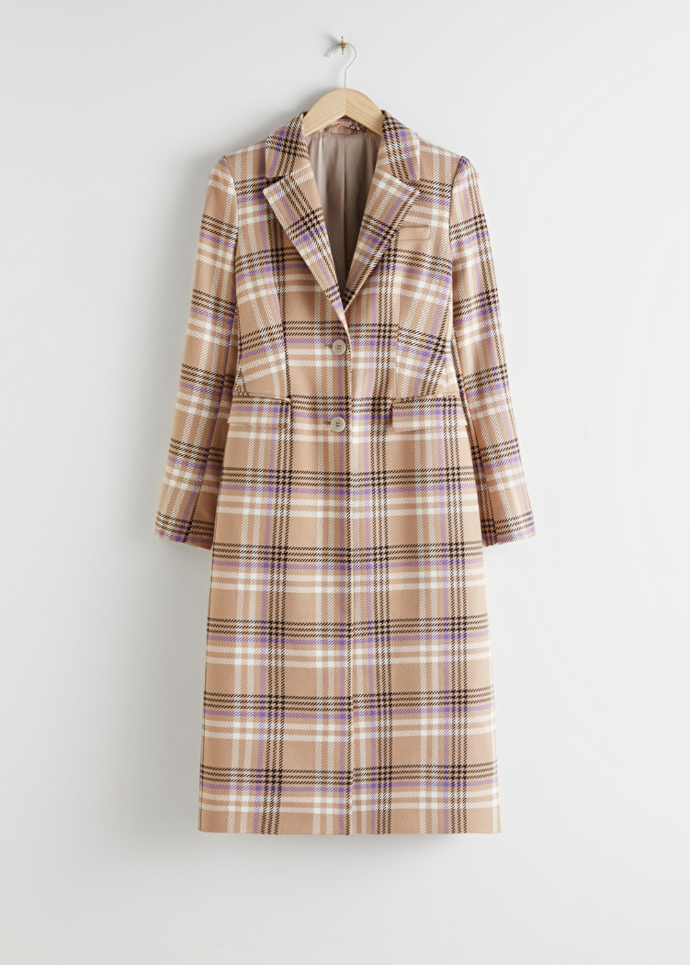 Hourglass Plaid Check Coat
