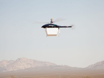 A MissionGo drone carrying a kidney transplant across the Nevada desert.