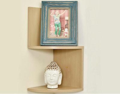 Greenco Modern Design 2 Tier Corner Floating Shelves