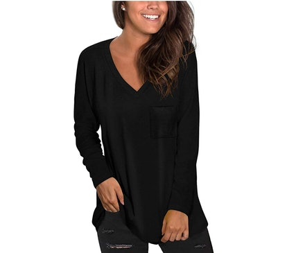 NSQTBA Long Sleeve V-Neck Tunic Top