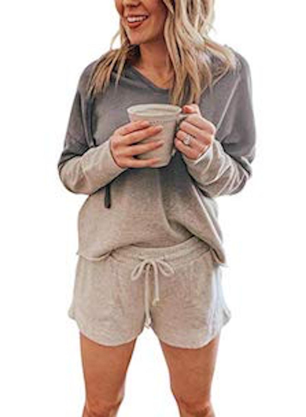 ROSKIKI Soft Hooded Long Sleeves Pajama Set