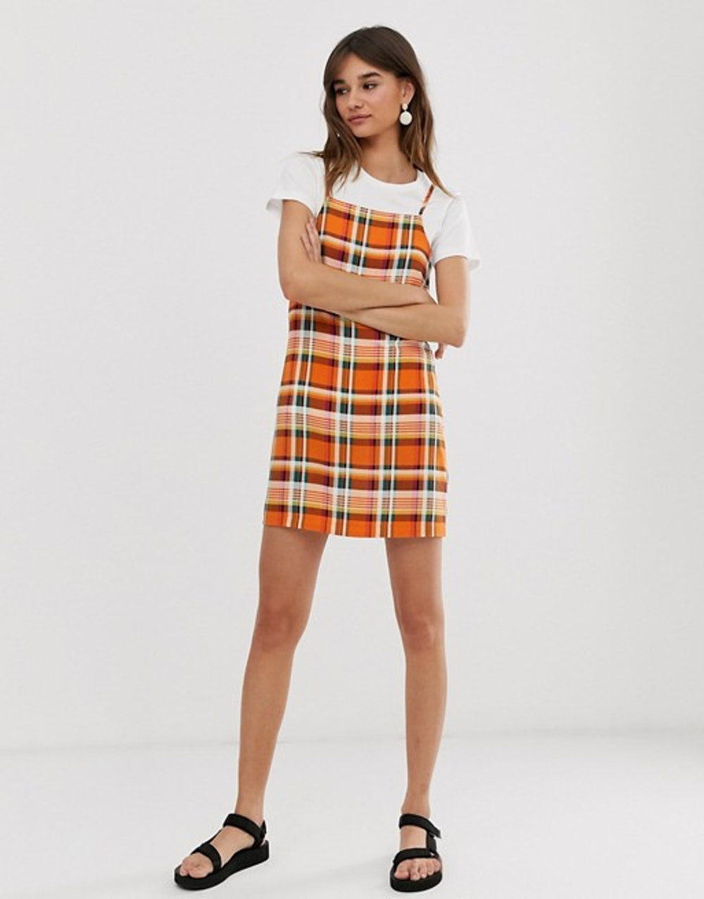 check print mini cami dress in orange