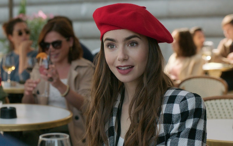 Lily Collins in Emily in Paris via the Netflix press site