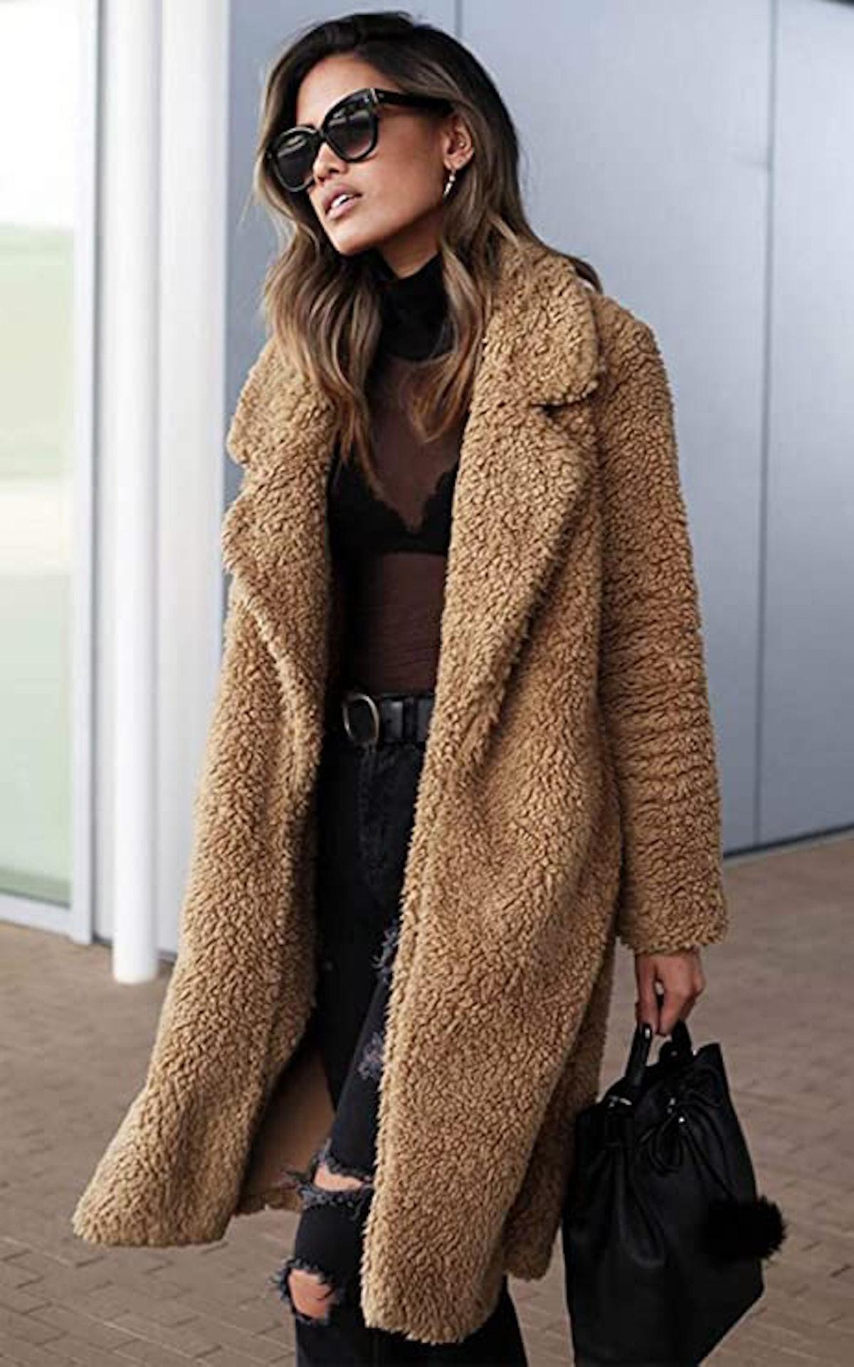 Angashion Fuzzy Faux Fur Jacket