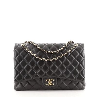 Classic Double Flap Bag Quilted Lambskin Maxi
