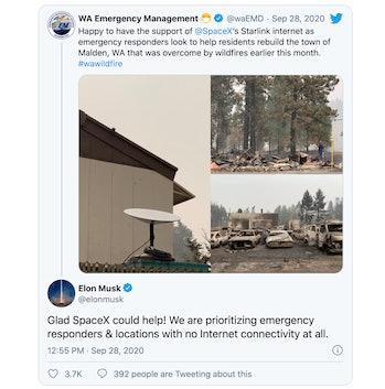 Screenshot of tweet exchange between Washington emergency responders and Elon Musk about Starlink internet