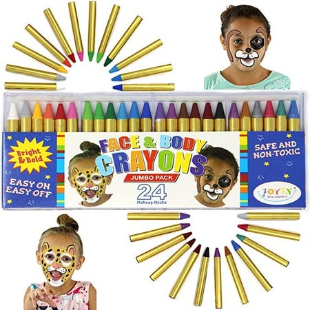 JOYIN 24 Colors Face Paint Safe & Non-Toxic Face and Body Crayons (Large Size 3 inch) Ultimate Party Pack Including 6 Metallic Colors for Birthday Halloween Makeup Party Suppiles