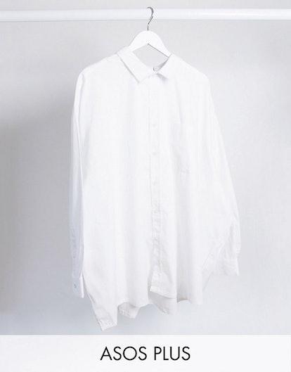 ASOS Design Plus Oversized Boxy Poplin Shirt in White