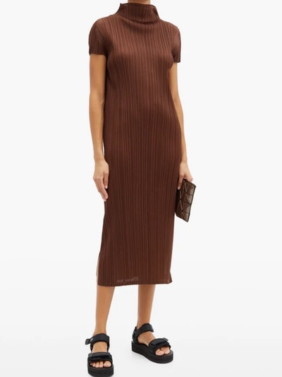 Pleated High-Neck Midi Dress