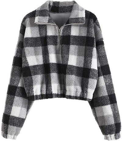ZAFUL Cropped Faux-Fur Pull-Over